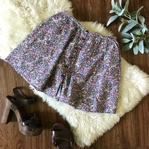 Floral skater skirt with buttons down front